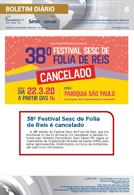 Boletim Diário – 17/03/2020 - 17/03/2020   Fecomércio