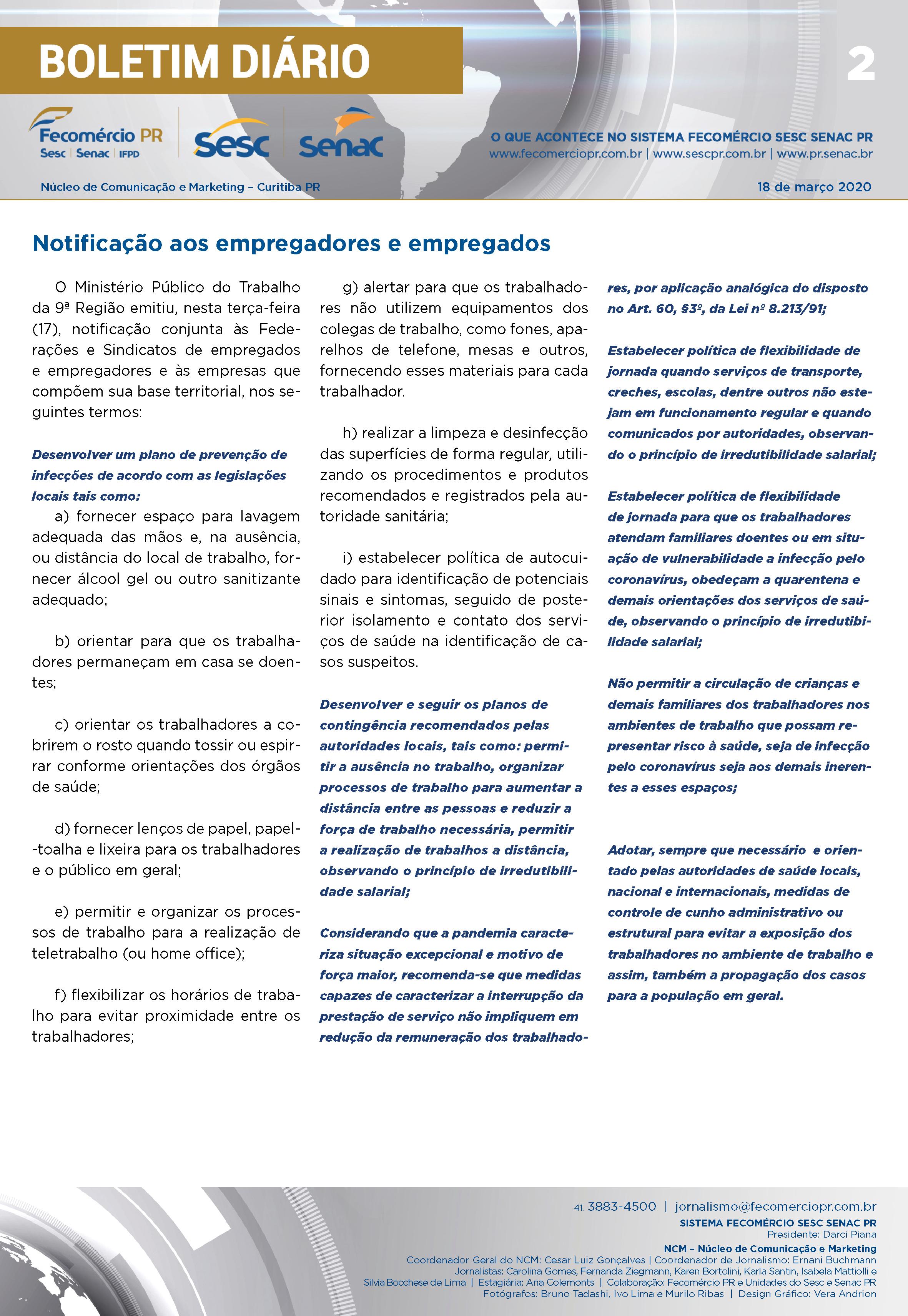 Boletim Diário – 18/03/2020 - 18/03/2020   Fecomércio