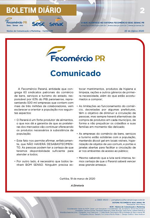 Boletim Diário | Fecomércio
